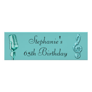 Sparkle Music Note and Retro Microphone Birthday Print