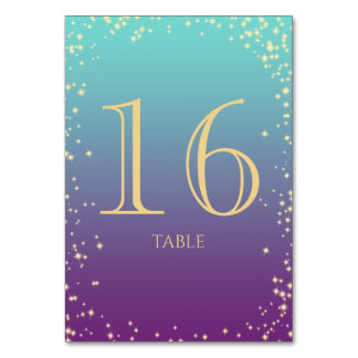 Sparkle Ombre' Teal and Purple  Table Number Table Card