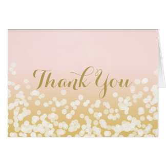 Sparkle Pink and Gold Thank You Card