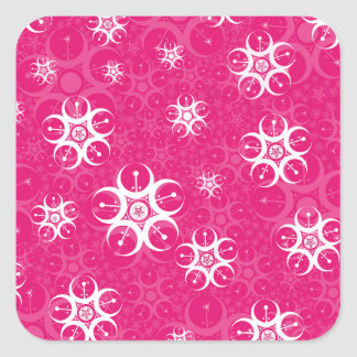 Sparkle Pink White Crop Circles Square Sticker