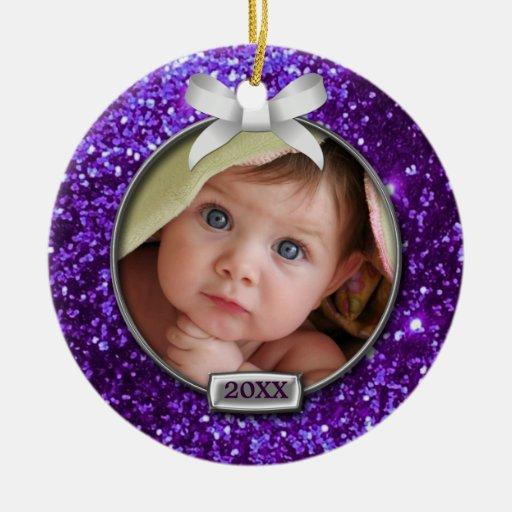Sparkle Purple/Silver Bow Photo Ornaments
