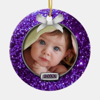 Sparkle Purple/Silver Bow Photo Round Ceramic Ornament