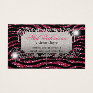Sparkle & Shine Fuschia & Zebra : Business Cards