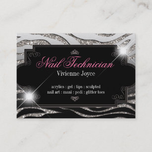 Acrylic nails business cards business card printing zazzle ca sparkle shine zebra business cards reheart Images