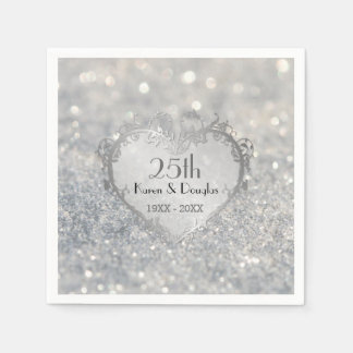 Sparkle Silver Heart 25th Wedding Anniversary Paper Napkin