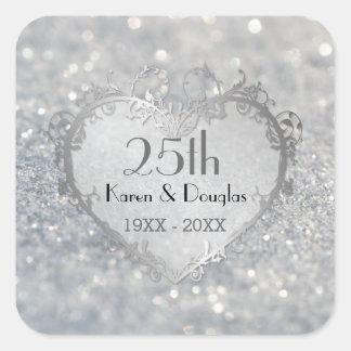Sparkle Silver Heart 25th Wedding Anniversary Square Sticker