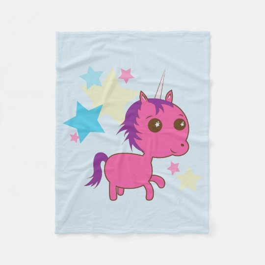Sparkle Star Pink Unicorn Blue Blanket