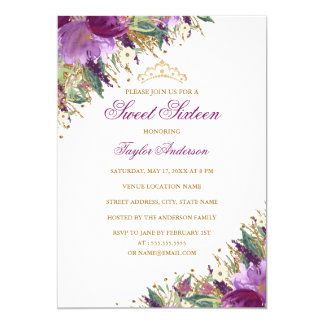 Sparkle Tiara Amethyst Purple Floral Sweet Sixteen Card