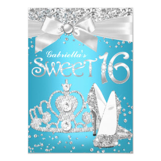 Sparkle Tiara & Heels Sweet 16 Invite Blue