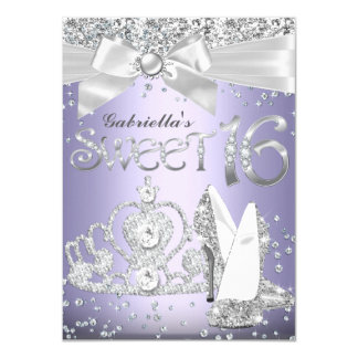 Sparkle Tiara & Heels Sweet 16 Invite Purple
