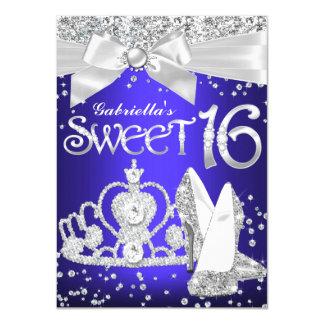 Sparkle Tiara & Heels Sweet 16 Invite Royal Blue