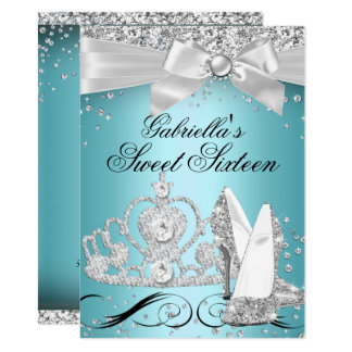 Sparkle Tiara Heels Teal Sweet 16 Card
