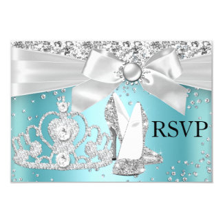 Sparkle Tiara Heels Teal Sweet 16 RSVP Card
