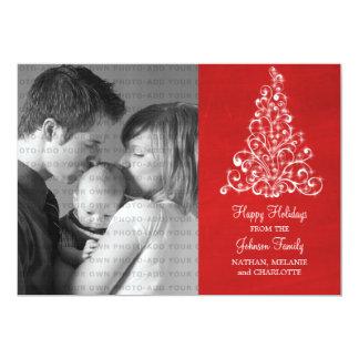 Sparkle Tree Chalkboard Flat Photo Card, Red Card