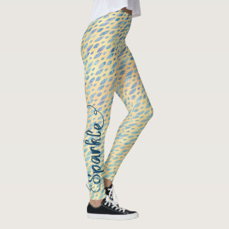 SPARKLE Typography Watercolor Teal Blue Feathers Leggings