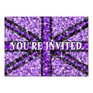 """Sparkle"" UK Purple Black You're Invited' Card"