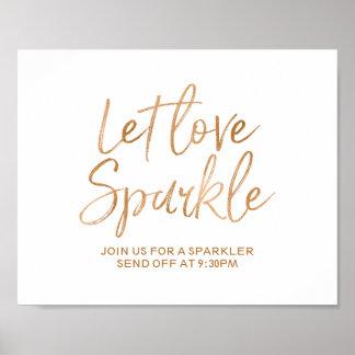 Sparkler Send Off 8x10 Rose Gold Wedding Sign