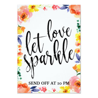 Sparkler Send Off  Affordable Floral Wedding Sign Card