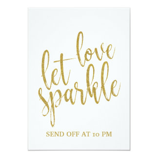 Sparkler Send Off Gold Affordable Wedding Sign Card