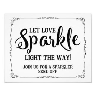 sparkler wedding sign black and white photo print