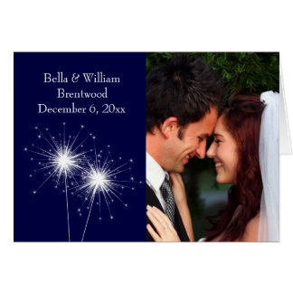 Sparkler Wedding Thank You Card blue