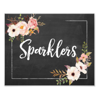 Sparklers Rustic Chalkboard Floral Wedding Sign Photograph