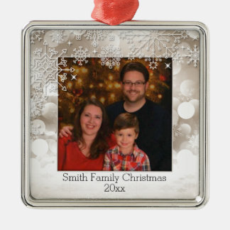Sparkles and Snowflakes Photo Ornament