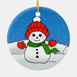 Sparkles the Snowman: Happy Holidays! Round Ceramic Ornament