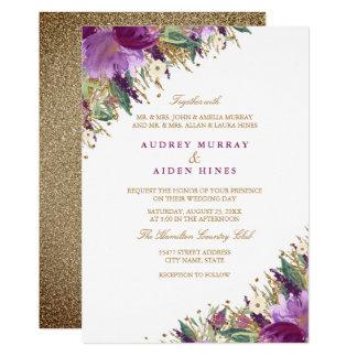 Sparkling Amethyst Purple Floral Wedding Card