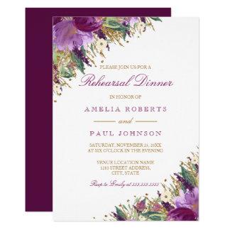 Sparkling Amethyst Purple Wedding Rehearsal Dinner Card