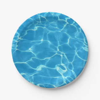 Sparkling Blue Swimming Pool Blue Water Aquatic Paper Plate
