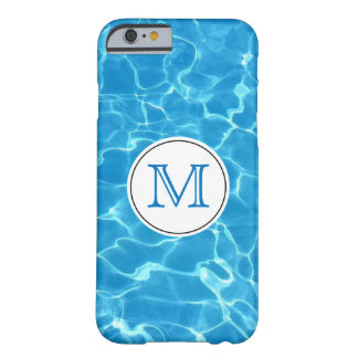 Sparkling Blue Swimming Pool Blue Water Monogram Barely There iPhone 6 Case