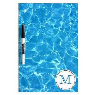Sparkling Blue Swimming Pool Blue Water Monogram Dry Erase Board