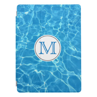 Sparkling Blue Swimming Pool Blue Water Monogram iPad Pro Cover