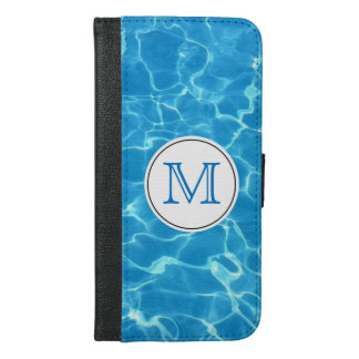 Sparkling Blue Swimming Pool Blue Water Monogram iPhone 6/6s Plus Wallet Case