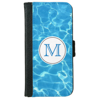 Sparkling Blue Swimming Pool Blue Water Monogram iPhone 6 Wallet Case