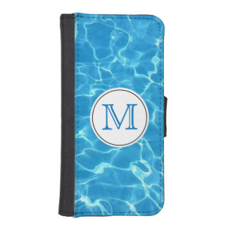 Sparkling Blue Swimming Pool Blue Water Monogram iPhone SE/5/5s Wallet Case