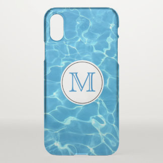 Sparkling Blue Swimming Pool Blue Water Monogram iPhone X Case