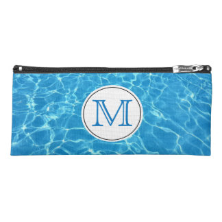 Sparkling Blue Swimming Pool Blue Water Monogram Pencil Case