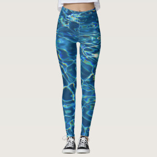 Sparkling Blue Swimming Pool Water Leggings