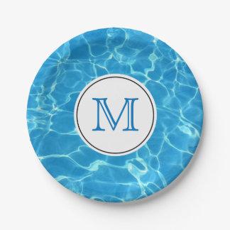 Sparkling Blue Swimming Pool Water Monogram Paper Plate