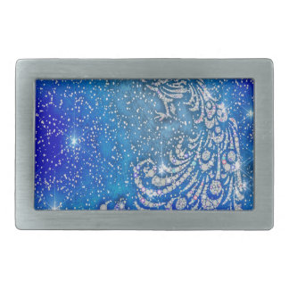 Sparkling Blue & White Peacock Belt Buckles