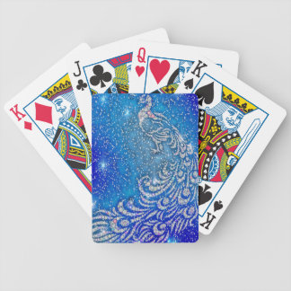 Sparkling Blue & White Peacock Bicycle Playing Cards