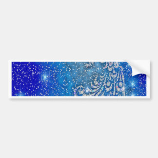 Sparkling Blue & White Peacock Bumper Sticker