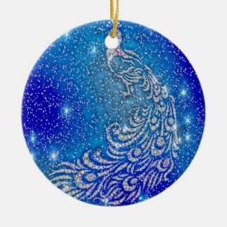 Sparkling Blue & White Peacock Ceramic Ornament