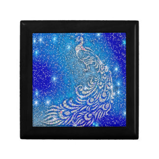 Sparkling Blue & White Peacock Gift Box
