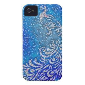 Sparkling Blue & White Peacock iPhone 4 Case