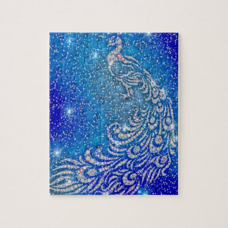 Sparkling Blue & White Peacock Jigsaw Puzzle