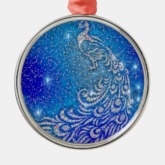 Sparkling Blue & White Peacock Metal Ornament