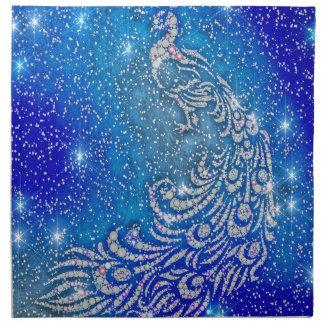Sparkling Blue & White Peacock Napkin
